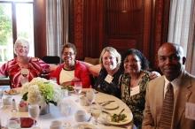 Alumni having dinner in the Reid Hall