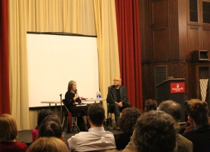 Mark Nowak and Camille Rankine hosting Amy Goodman's discussion.